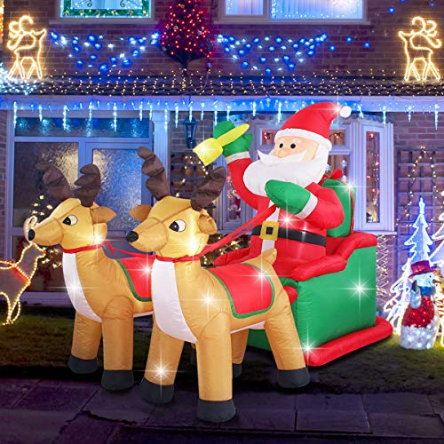ShinyDec Christmas Inflatable 5ft. Santa Claus on Sleigh with Two Reindeer Large Outdoor Yard Decorations for Xmas, Brown (Xmas Lights Reindeer)