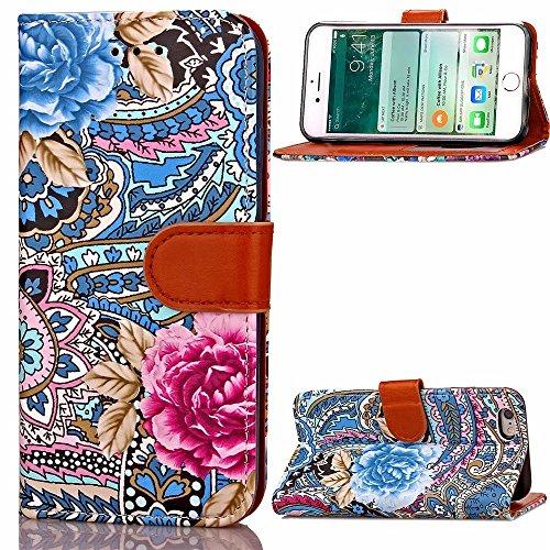 Apple IPhone 6S Plus cas Résumé Motif fleur TPU PU Housse en cuir Rétro Folio Flip Portefeuille Stand Case Avec carte Slot Cadre photo pour Apple IPhone 6S Plus ( Color : 1 )