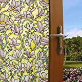 Bloss Trendy Floral Decorative Window Film Self Adhesive Stained Glass ...