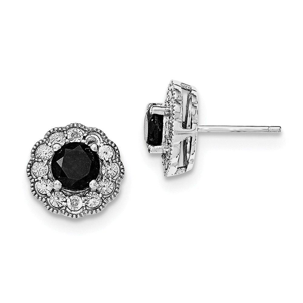 Sterling Silver Rhodium-plated Black Sapphire & Diamond Post Earrings