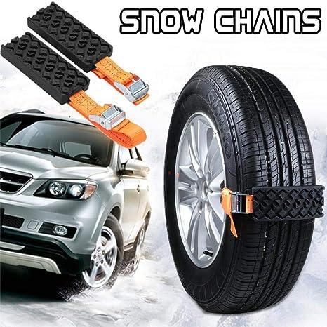 FancyU Cadenas de Nieve para Ruedas, RubberCar Cadenas de Nieve Universal de Emergencia Cadena de