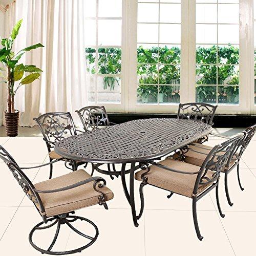 Breckenridge 4 Piece Patio Furniture Set Two Swivel: Domi Outdoor Living Aluminum 7-Piece Patio Dining Set 86