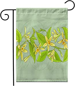 """Adowyee 28""""x 40"""" Garden Flag Green Aroma Vanilla Pattern Aromatic Bean Bloom Blossom Botany Outdoor Double Sided Decorative House Yard Flags"""