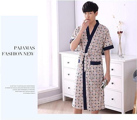 Amazon Com Bianjesus Men Sleepwear Bathrobe Gown Pajamas Cotton Short Sleeve Soft Quality Comfort Sleep Hotel Home Bathroom Spa Robe Home Kitchen