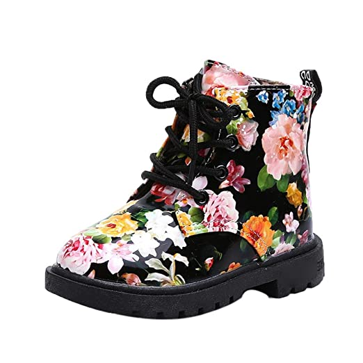 AMA(TM) Toddler Girls Floral Waterproof Rain Boots Baby Martin Boots Shoes  (1 b78588e9e098