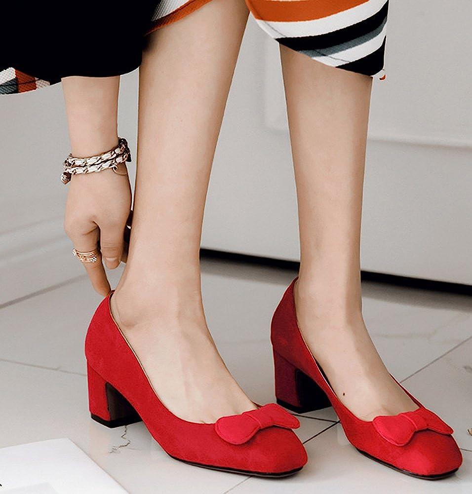 IDIFU Womens Elegant Square Toe Slip on Faux Suede Mid Block Heeled Bow Bridal Pumps
