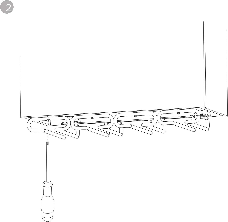 Porta Copas de 4 l/íneas para Muebles EMUCA Acero Soporte para Copas para Estantes o Bares Acabado Cromado 280 mm