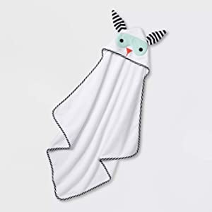 Baby Bath Towels Hooded Cute Animal Faces for Both Girl & Boy (White/Teal Baby Super Bunny)