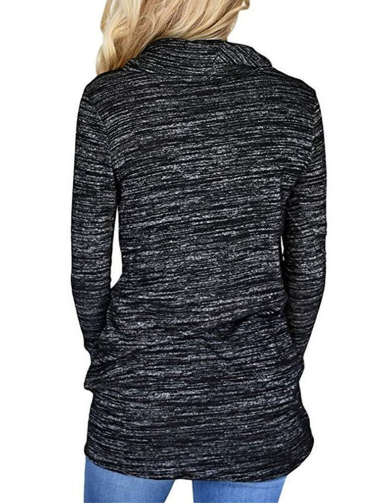 Women's Cowl Neck Striped Long Sleeve Pullover Top Sweatshirt Pocket 4