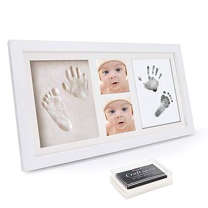 WesKimed Set de Marco de Fotos y Huellas de Bebé en Tinta – Recuerdo memorable –
