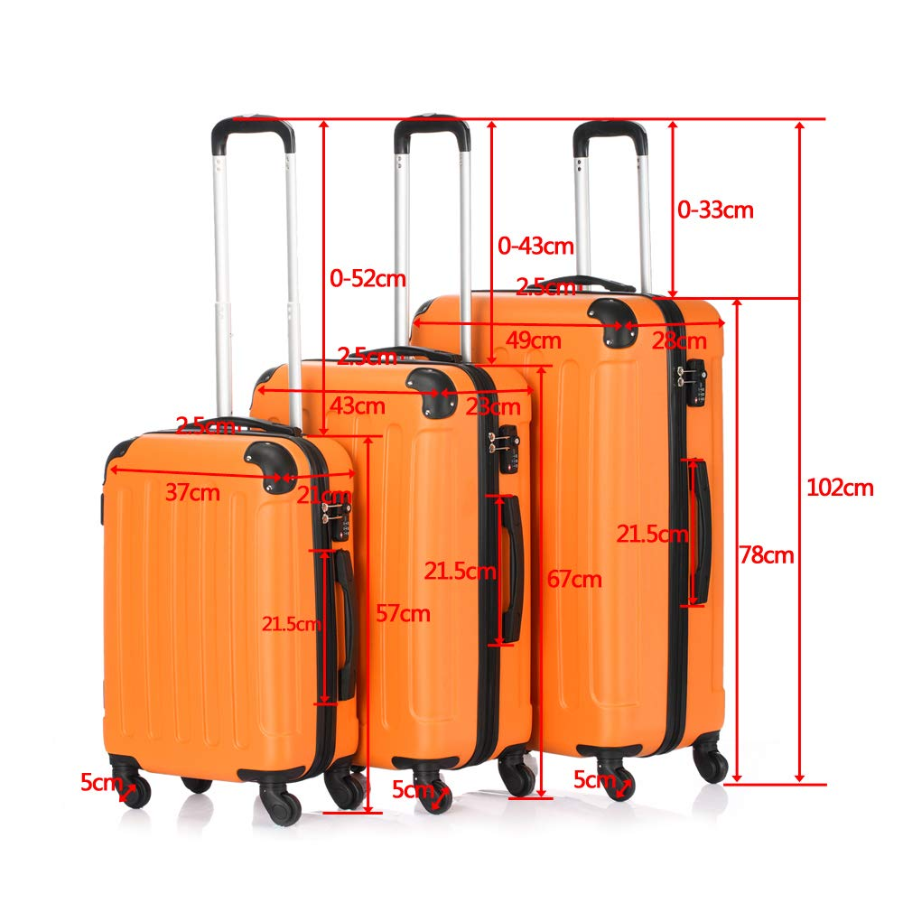 c35b9fc623da Amazon.com | 3 Pcs Luggage Set Hardside Travel Rolling Suitcase ...