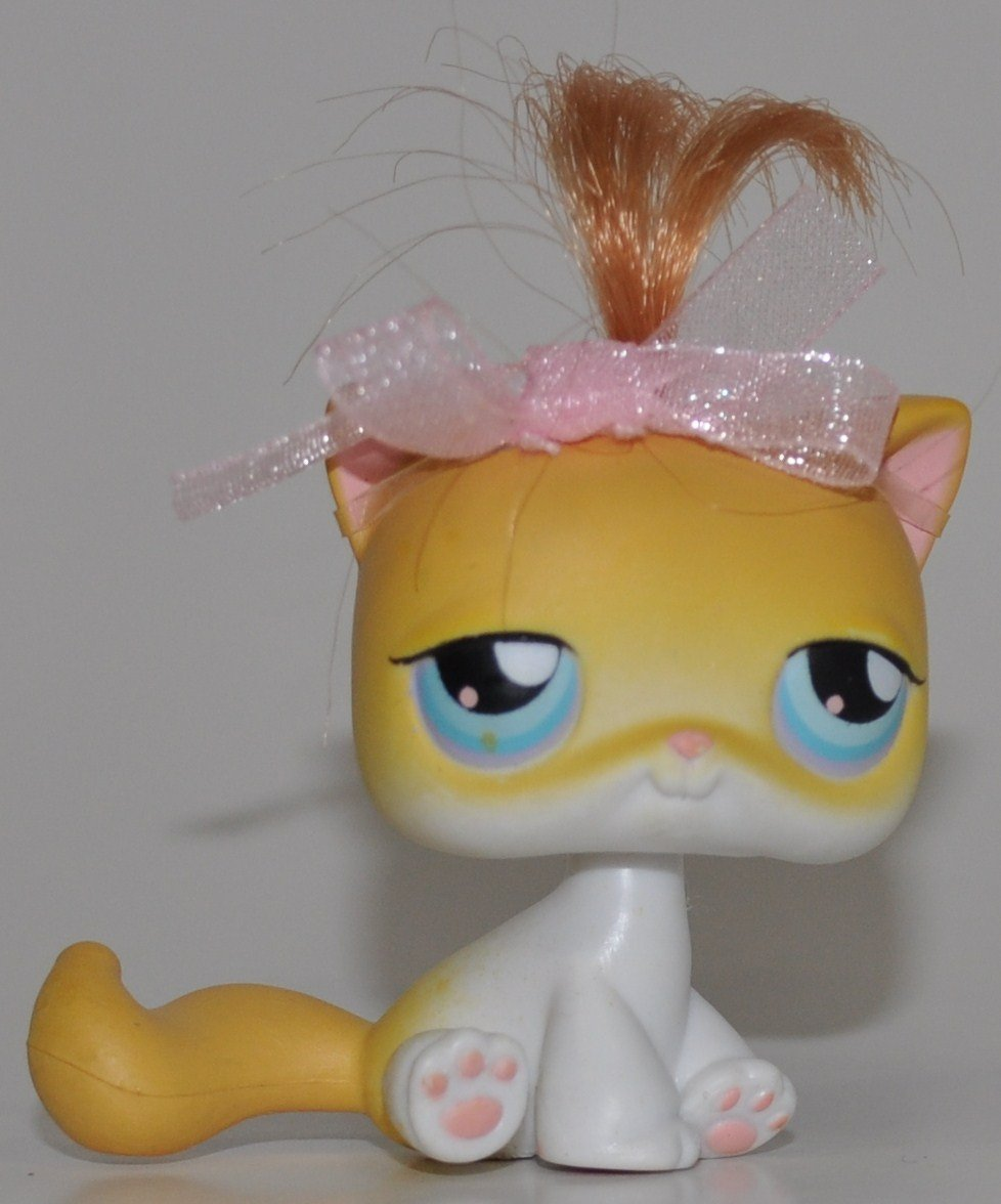 LPS Collectible Replacement Single Figure Loose - Littlest Pet Shop Real Hair: Yellow//White, Blue Eyes Collector Toy OOP Out of Package /& Print Shorthair Kitten #42 Retired