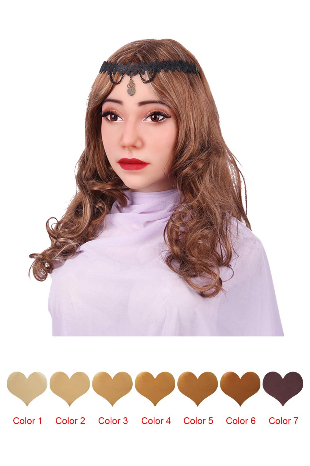 FEEDGO Silicone Female Fcae Mask Kath Makeup for Crossdresser Transgender Halloween Costumes(Color3,) by FEEDGO
