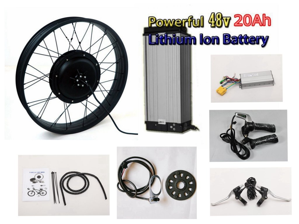 20''4.0 Black Rear Wheel Fat Tire 48V 1500W Brushless Gearless Motor, The 65-70kph Speed Electric Fat Bike DIY Conversion Kit with 48V 20Ah Lithium Battery
