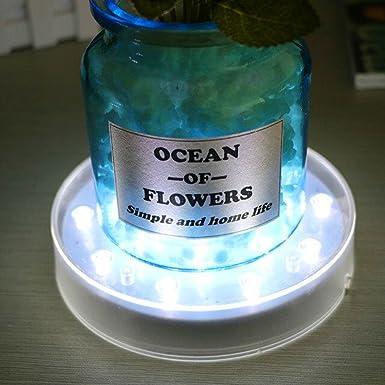 LACGO White acrílico redondo LED luz de la placa, 15 LEDs florero base de luz para el hogar, empresa, Restarant mesa centro pieza decoración (1 pieza) (4 ...