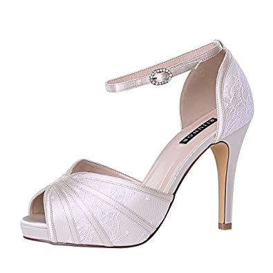 8469155f9faf ERIJUNOR E1773 Women Heeled Sandals Ankle Strap Lace Prom Wedding Shoes for  Bride Champagne Size 6
