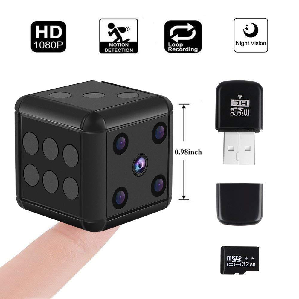 Mini Hidden Spy Camera, Crazepony 1080P HD Nanny Cam Night Vision Portable Motion Detection FOV 90 Degree Sports Camera with 32GB SD Card and Card Reader