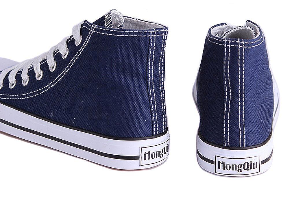 Honeystore Unisex's Sneaker High Schnürer Denim Sneakers Sportschuhe Turnschuhe Flache Leinwand High-Cut Schuhe Übergrößen Flandell Weinrot 39 CN IaT3ED1lfB