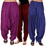 Luvcare 100% Pure Cotton Patiala Salwar For Womens(Purple, Brown And Blue)
