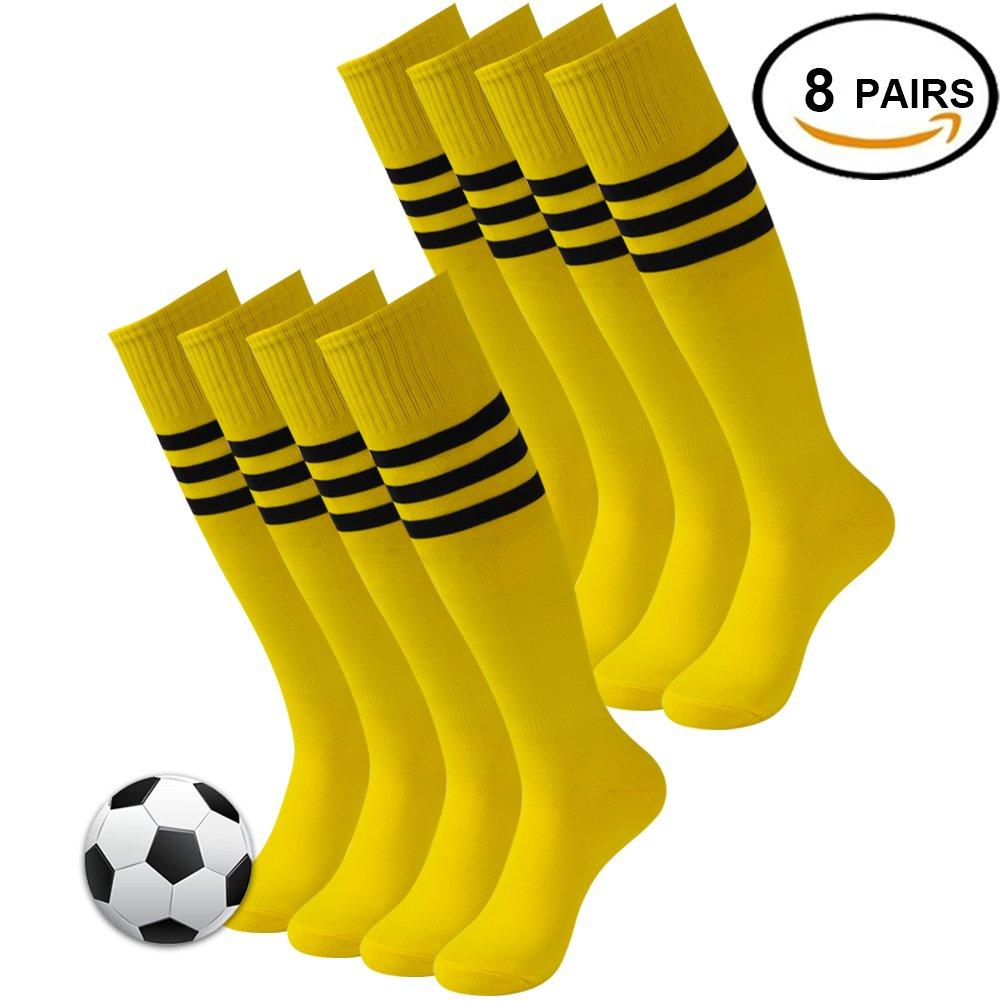 3streetユニセックスニーハイ/ Over Calfトリプルストライプアスレチックチューブソックス3 – 12ペア B078487H5T 03#8 Pairs Brigt Yellow 03#8 Pairs Brigt Yellow