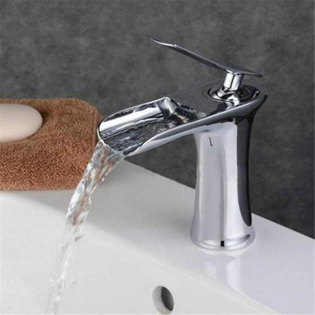 Hot and Cold Water Brass Chrome Kitchen Waterfall Bathroom Faucet Bathroom Basin Mixer Tap with Hot and Cold Water Black Brush Nickel Water Mixer