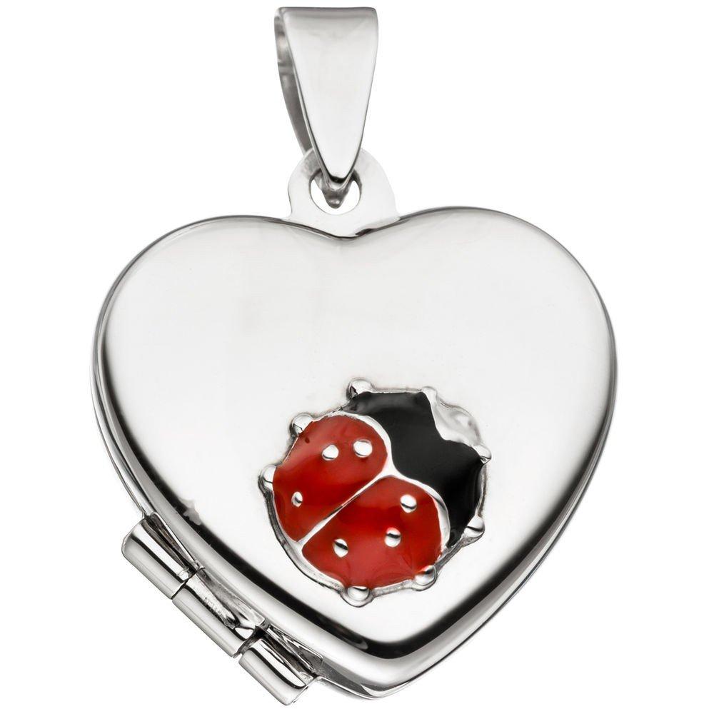 Medaglione per 2 foto con ciondolo a forma di cuore con coccinelle per aprire 925 argento Schmuck-Krone - Silberschmuck 20385