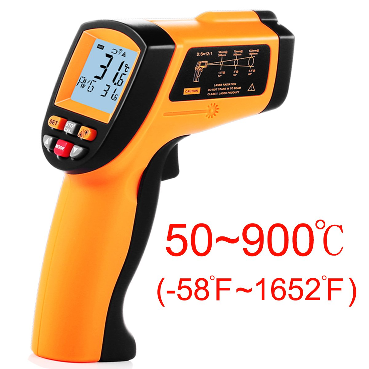 Tekit Non-Contact Laser Infrared Digital Thermometer, -50 ~ 900℃ Temperature Measuring Range, Handheld Laser Target Pointer / Backlight / Auto Power On/Off by Tekit (Image #1)