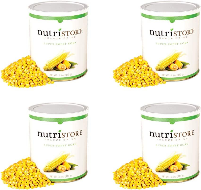 Nutristore Freeze Dried Corn | Pack of 4 | 160 Servings | 62 oz | 25 Year Shelf Life | Amazing Taste | Healthy Snack | Emergency and Survival Food