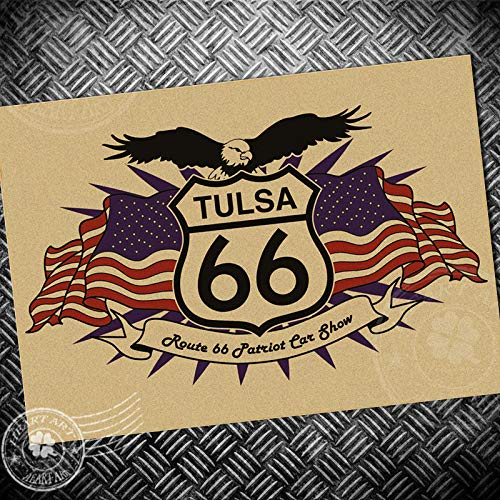 66 Route Eagle - MICHAEL SMITHE Route 66 Vintage Poster Eagle Retro Print Painting core Drawing Kraft Paper Classic Wall Sticker