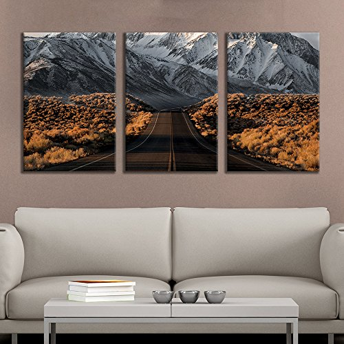 3 Panel Majestic Natural Landscape Triptych Series Road Leading to Mountains x 3 Panels