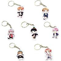 FUNCOCO Creative Key Chain, 7 Pcs Cartoon Keychain Key Ring Hot Gift for Fans