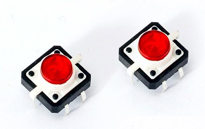 NUEVO. LED Tactile Button Switch pulsador con rojo para Arduino ...
