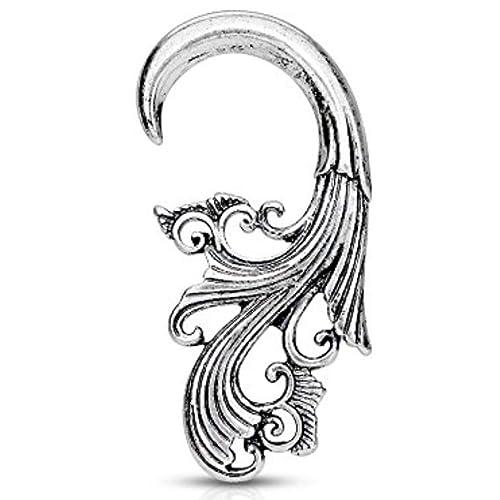 One Pair Tribal Antique Silver Plated Hangers Tapers Expanders Earrings Gauges