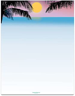 amazon com tropical beach scene stationery 8 5 x 11 60 tropical