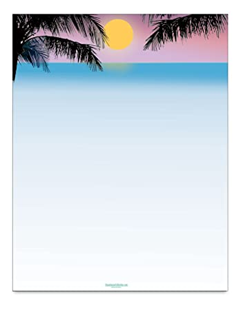 amazon com tropical sunset scene stationery 8 5 x 11 60 beach