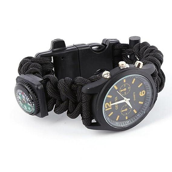 siswong 5 en 1 de exterior Relojes Pedernal/Brújula/termómetro/Tiempo multifunción supervivencia Aventura Montañismo Senderismo Liquen Reloj de pulsera: ...