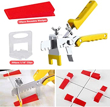 DIY-Werkzeug mit 2 Schraubenschl/üssel 100 St/ück Fliesen-Nivelliersystem-Kits wiederverwendbar Fliesen-Nivellierer Fliesen-Abstandhalter f/ür Keramik