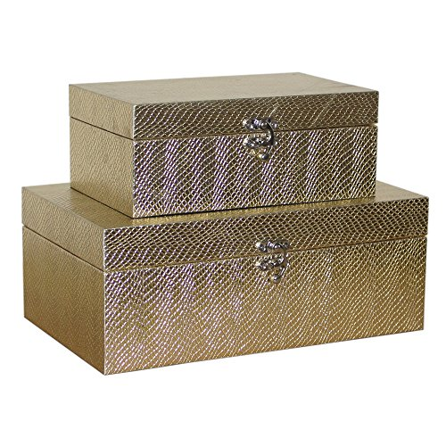 (MODE HOME Golden Leather Kitchen Storage Boxes Fashion Jewelry Wooden Boxes Waterproof Set of 2)