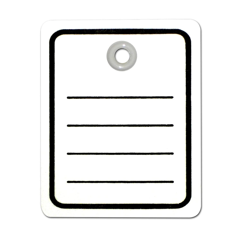 1.000 Kartonetiketten Öse 40x50 mm weiß Aufdruck: Liniert | Preisschilder einzeln geschnitten | Hängeetiketten | HUTNER
