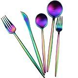 Gugrida 20-Piece 18/10 Stainless Steel Flatware Silverware, Luxury Dinnerware Set Travel Cutlery Tableware Include Knife Fork