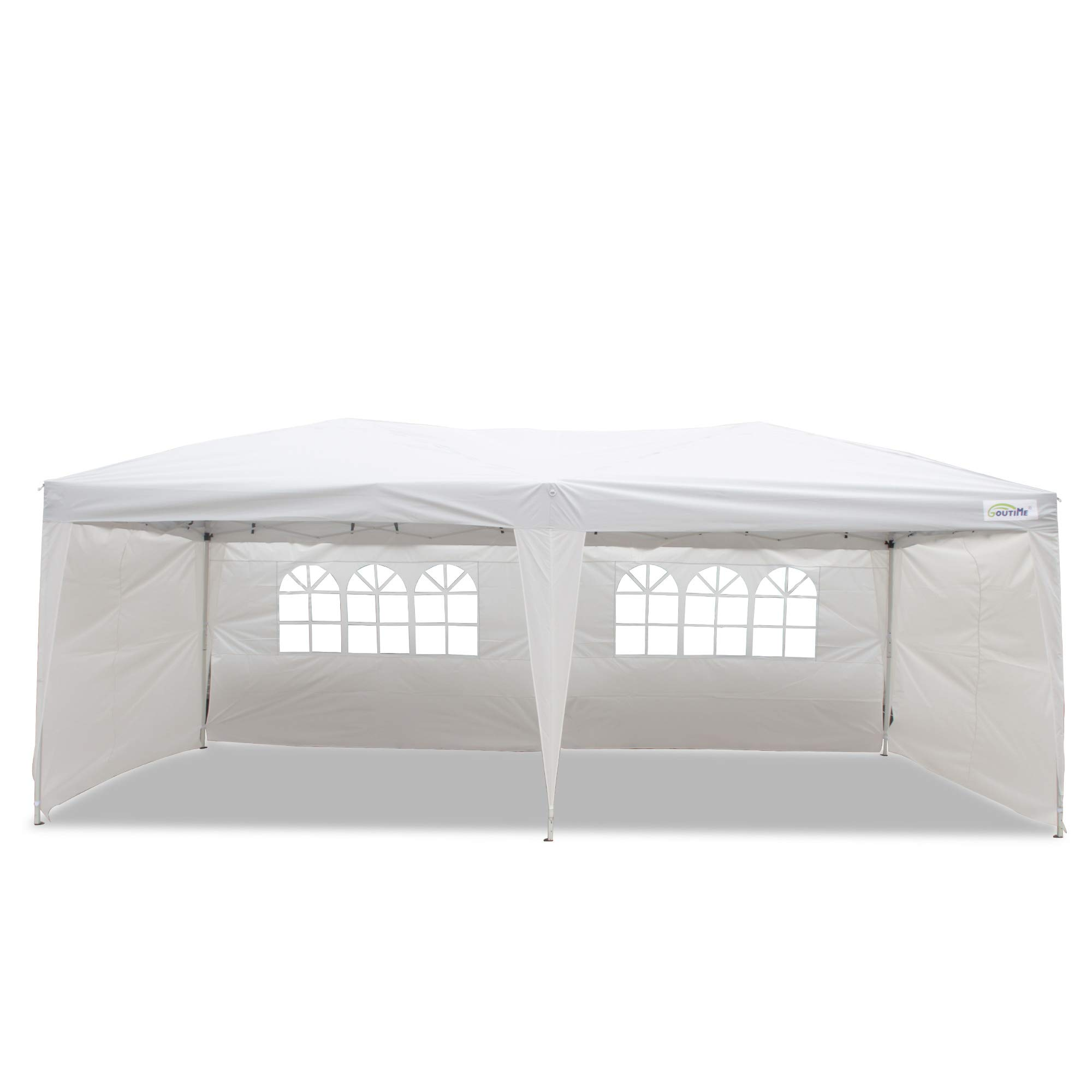 Goutime 10x20 Ft Ez Pop Up Canopy Tent with 4Pcs 10Ft Removable Sidewalls and Wheeled Bag for Outdoor Party Events by Goutime