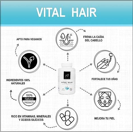 VITAL HAIR.Complemento alimenticio a base de vitaminas y minerales (Biotina, Zinc, vitamina B5 y Mijo) para fortalecer y frenar la caída del cabello y ...