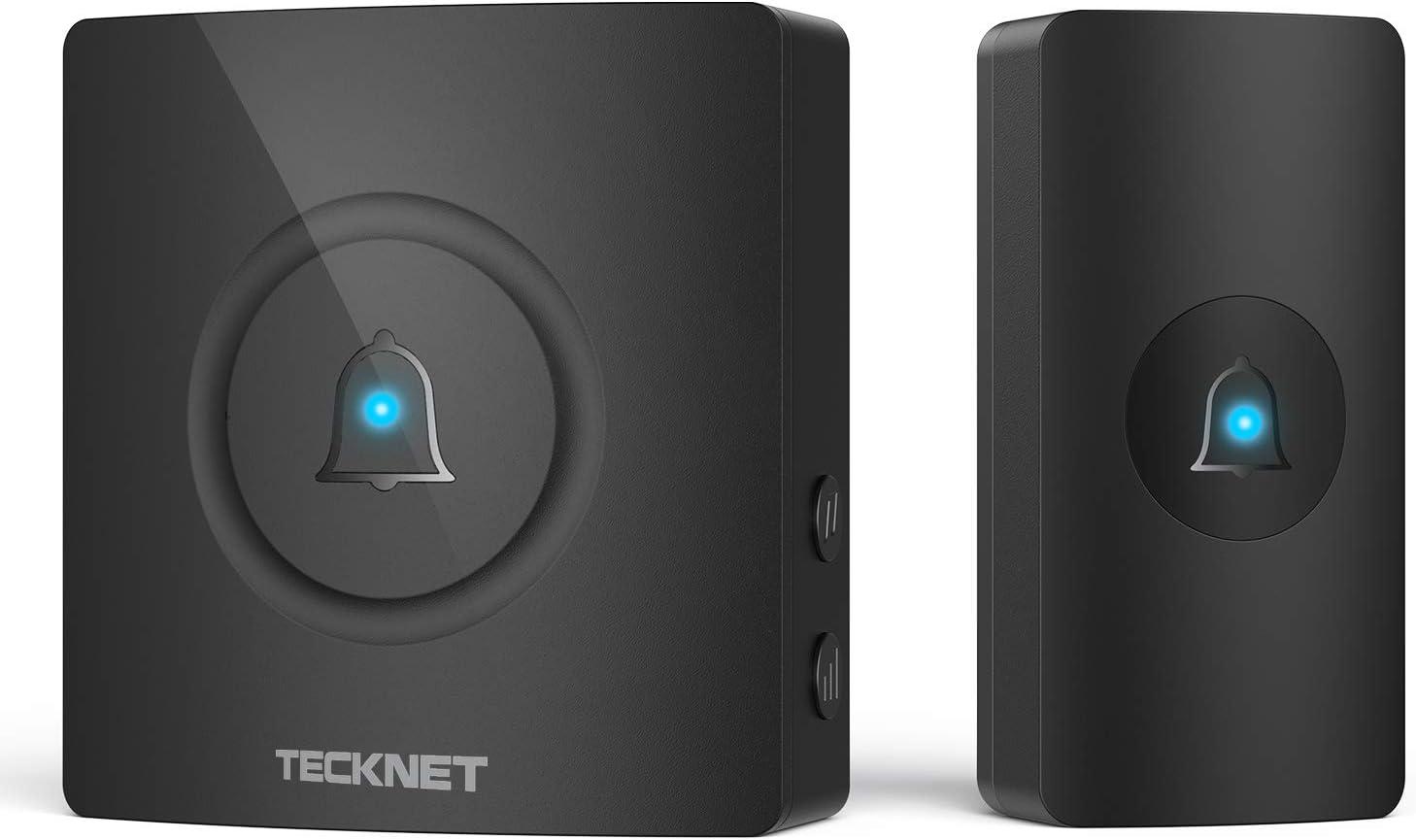 Wireless Doorbell, TeckNet Waterproof Door Bell Chime Kit Operating at 1000 Feet with 38 Melodies, 4 Volume Levels & LED Light Flash (Black)