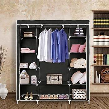 Blissun portable clothes closet wardrobe storage organizer with nonwoven fabric 59 black