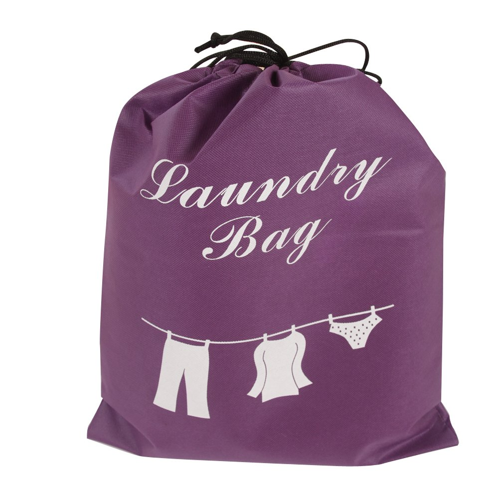 unicité Water Repellent (21X16 inch) Travel Laundry Bag Large drawstring Travel/Home Storage (Purple Red,Size:L)