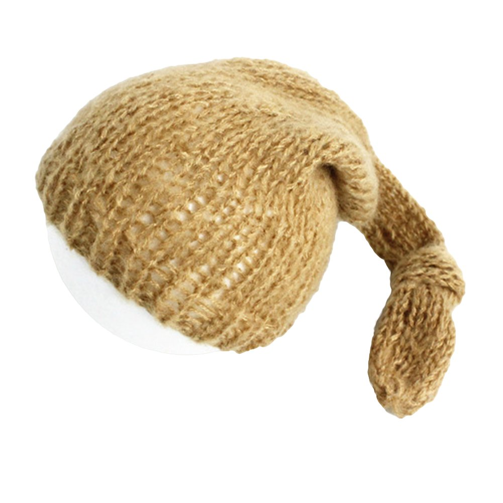 preliked Newborn Baby Infants Cute Hand-knitted Crochet Mohair Hat Cap Photography Props (Grey)