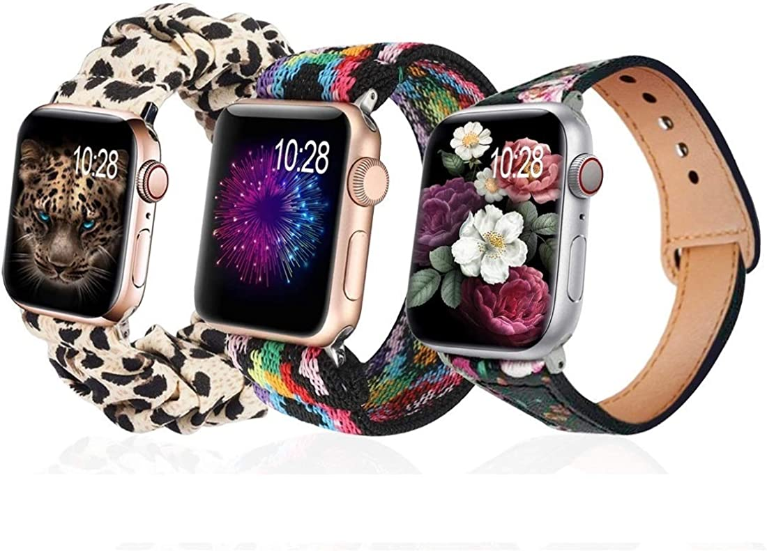 (3 Pack) G.P Bands Compatible With Apple Watch Band 40mm 38mm,Stretch Elastics + Leopard Cloth Soft Pattern Printed + Floral Leather Wristbelt Wristband Bracelet Women for Series 5/4/3/2/1