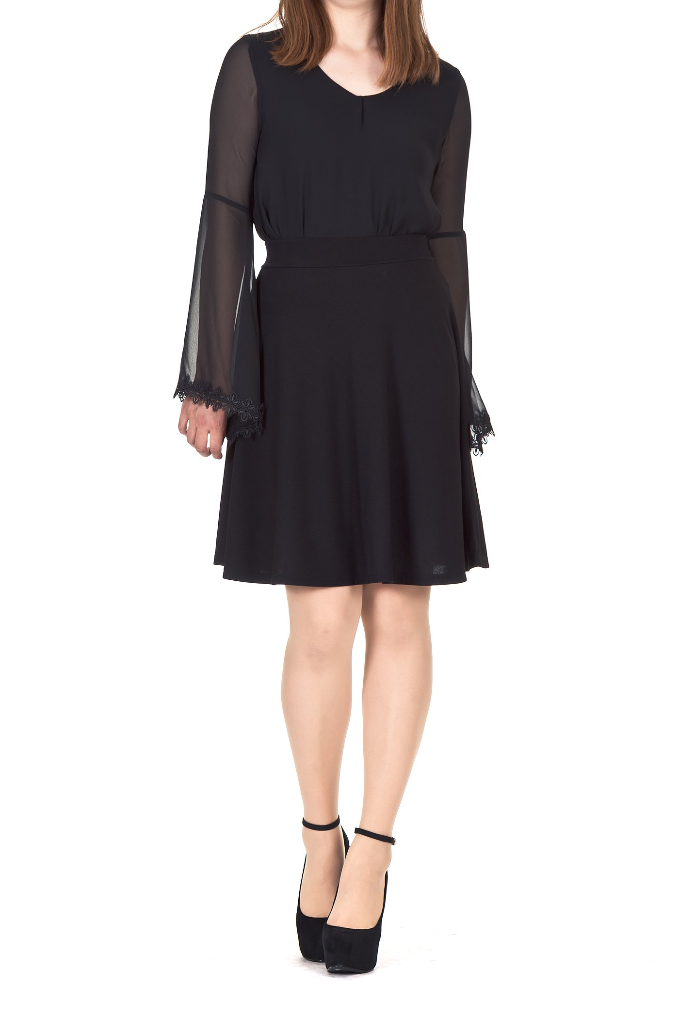 Simple Stretch A-line Flared Knee Length Skirt (XL, Knee Black) by Dani's Choice (Image #3)