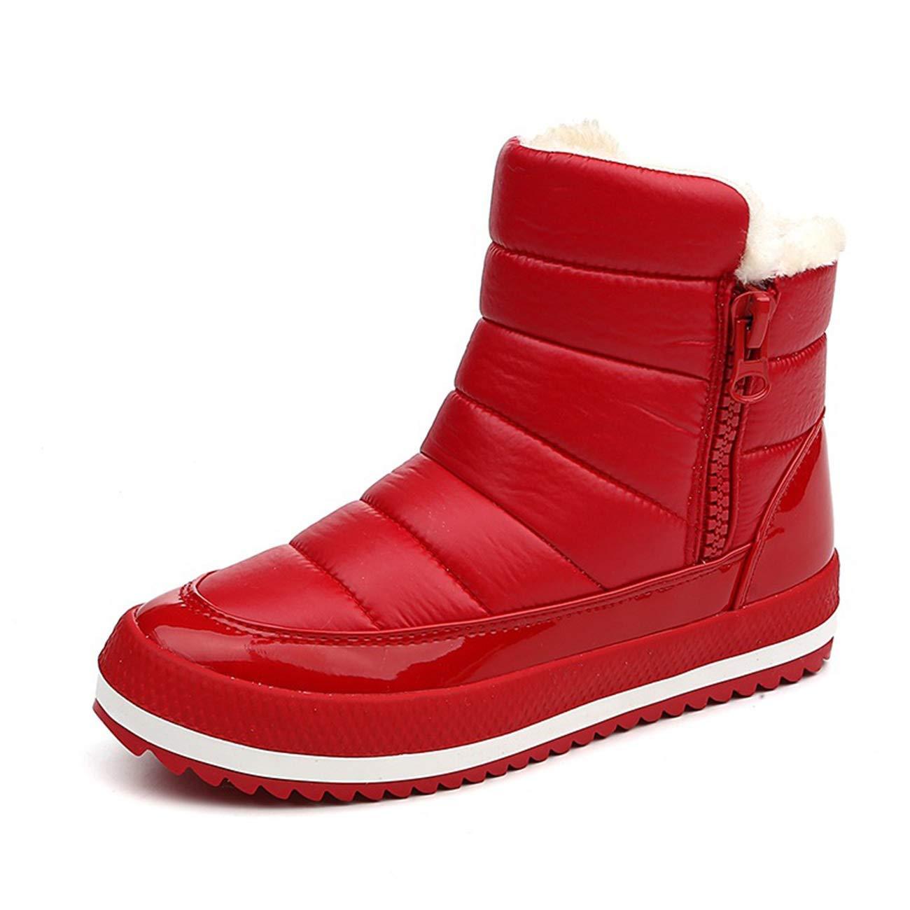 Qiusa Damen Runde Runde Runde Zehe Flache Zip Schneeschuhe (Farbe   Rot, Größe   3 UK) afd0c0