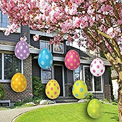 VictoryStore Yard Sign Outdoor Lawn Decorations: Easter Yard Decorations - FLAT Hanging Easter Eggs